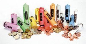 Een assortiment Munthulzen met een munthuls voor vele euromunten. Munthuls – Cointubes – Münzhülsen